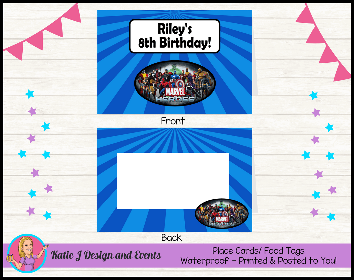 Personalised Marvel Superheroes Party Place Cards