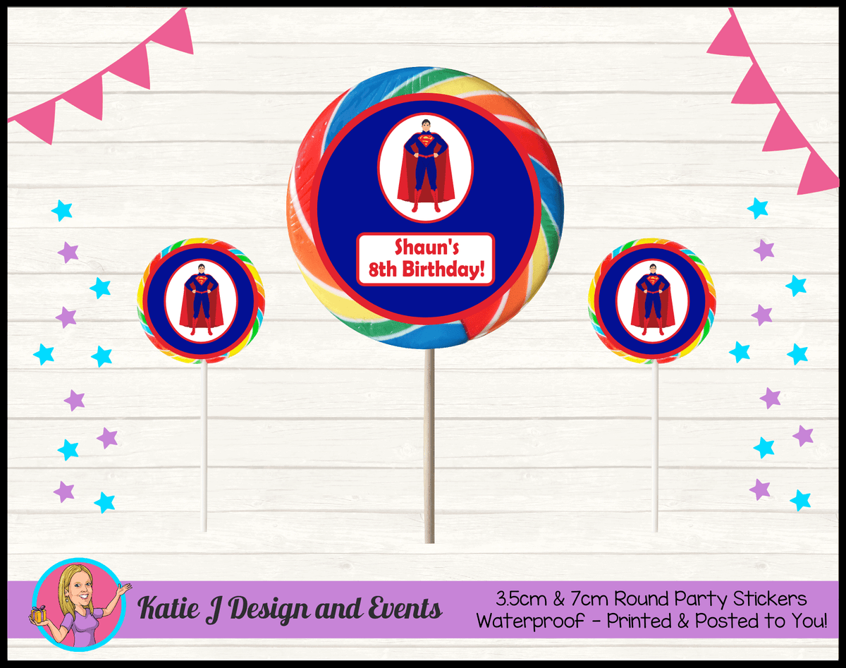 Personalised Superman Round Lollipop Stickers