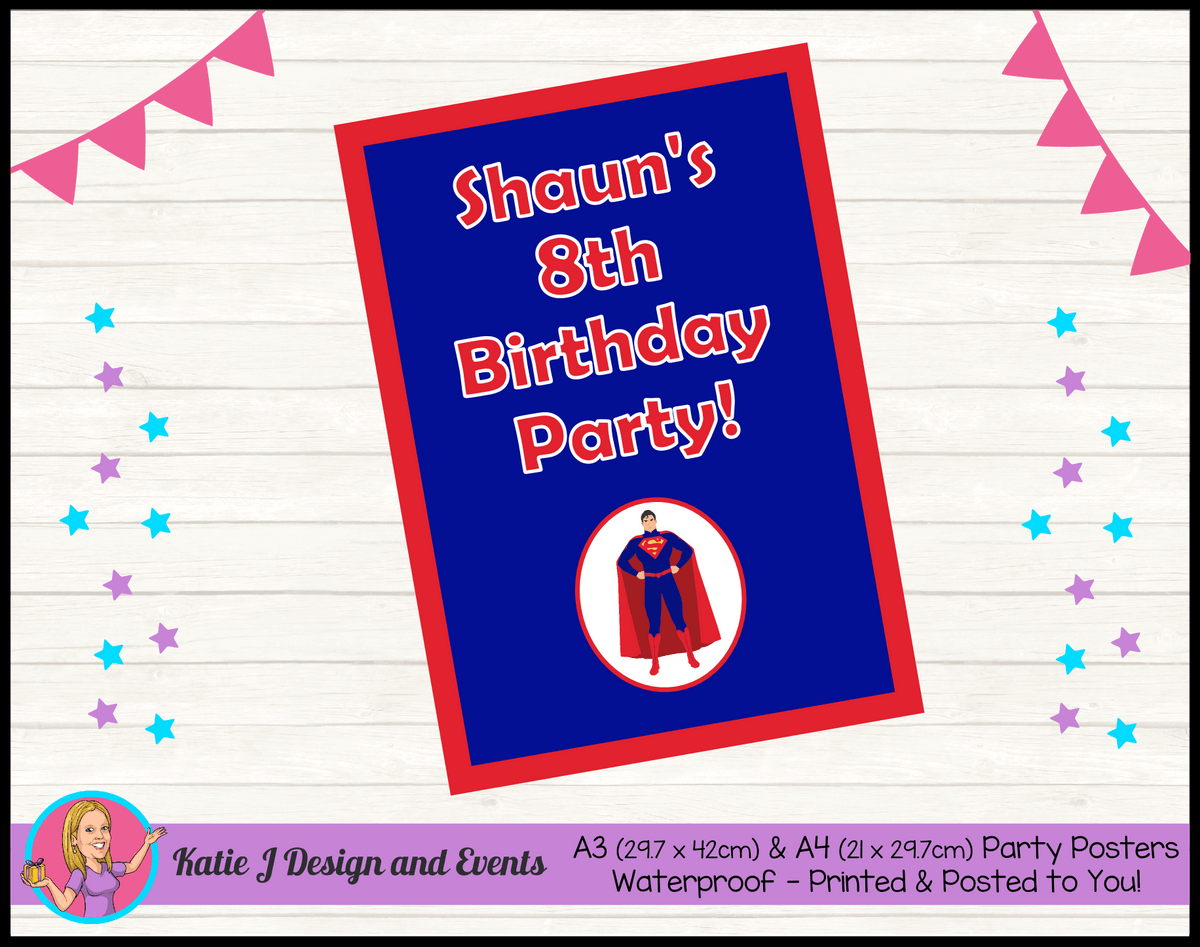 Personalised Superman Birthday Party Poster