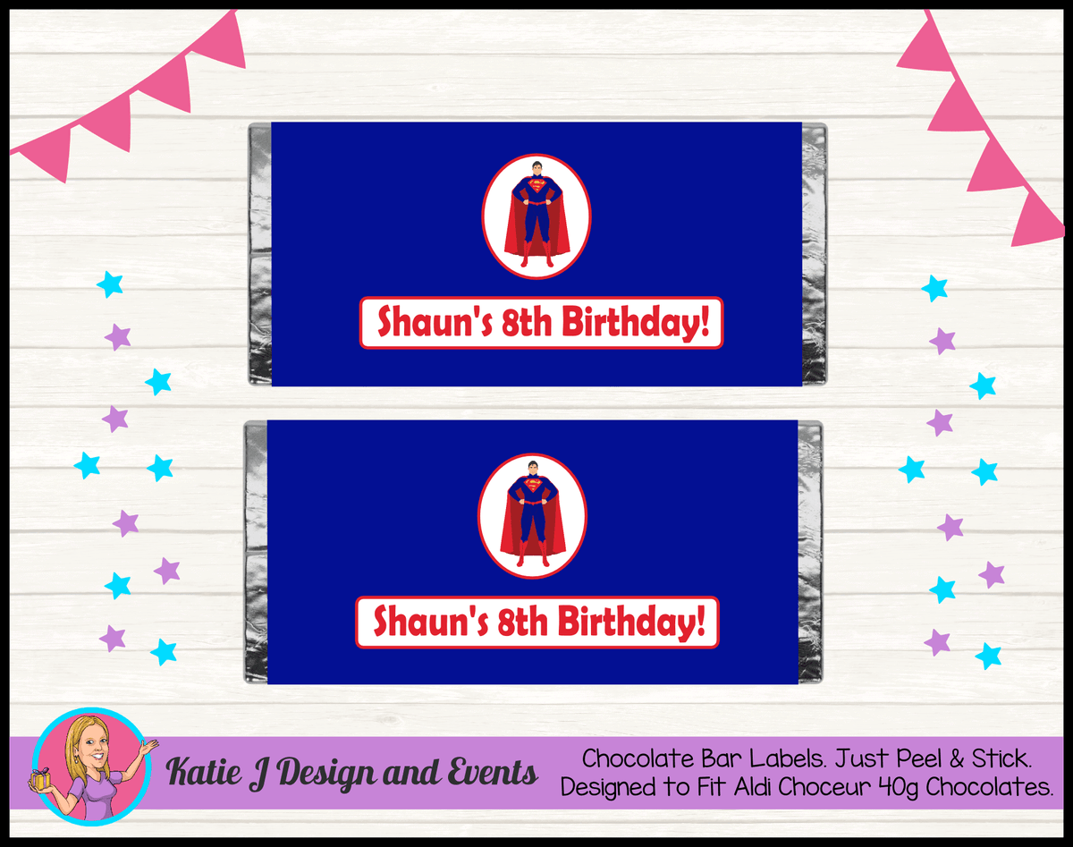 Personalised Superman Birthday Chocolate Labels Wrappers