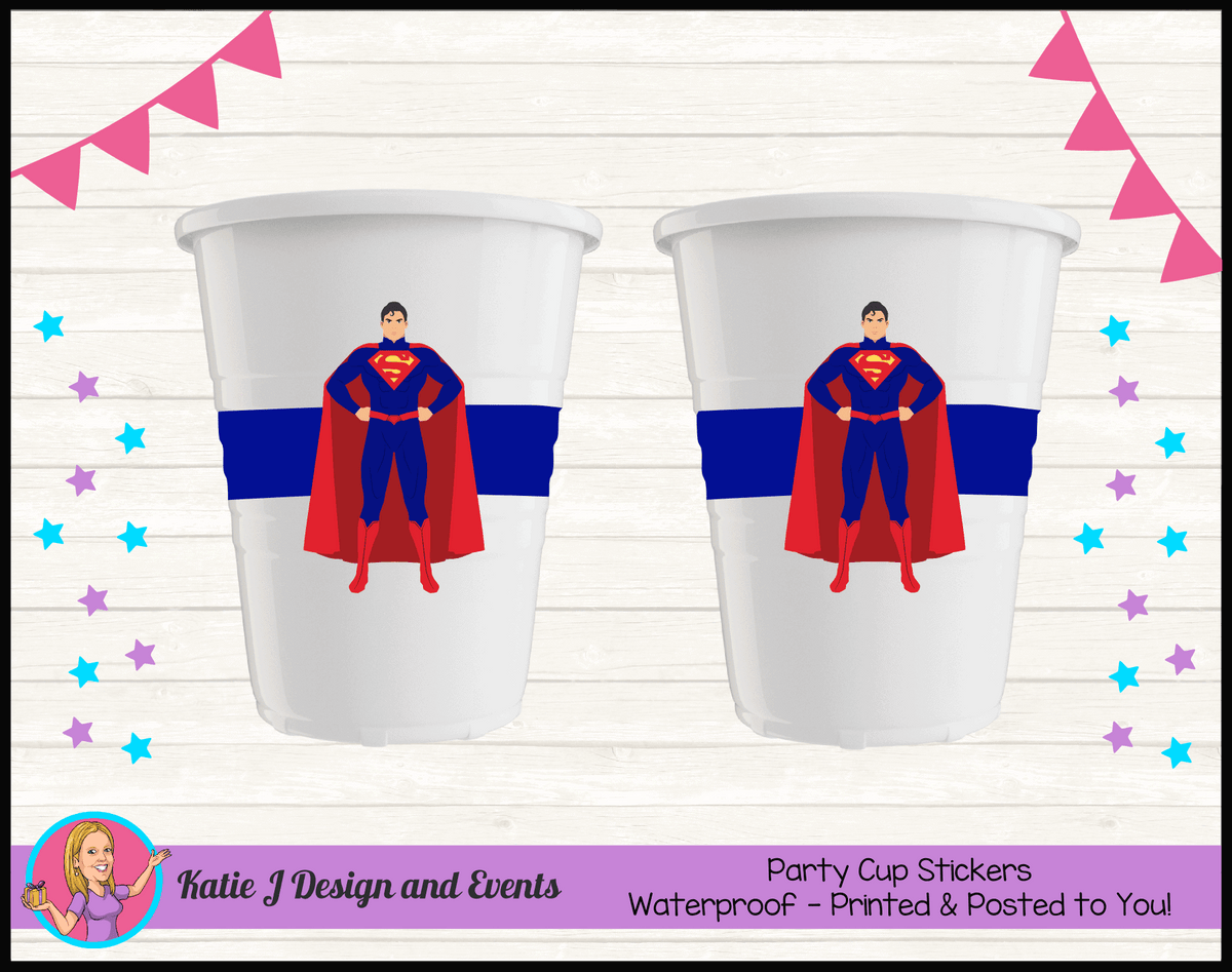 Personalised Superman Party Cups Cup Stickers