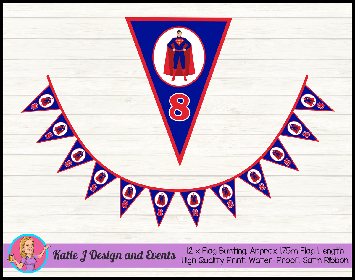 Personalised Superman Birthday Party Flag Bunting
