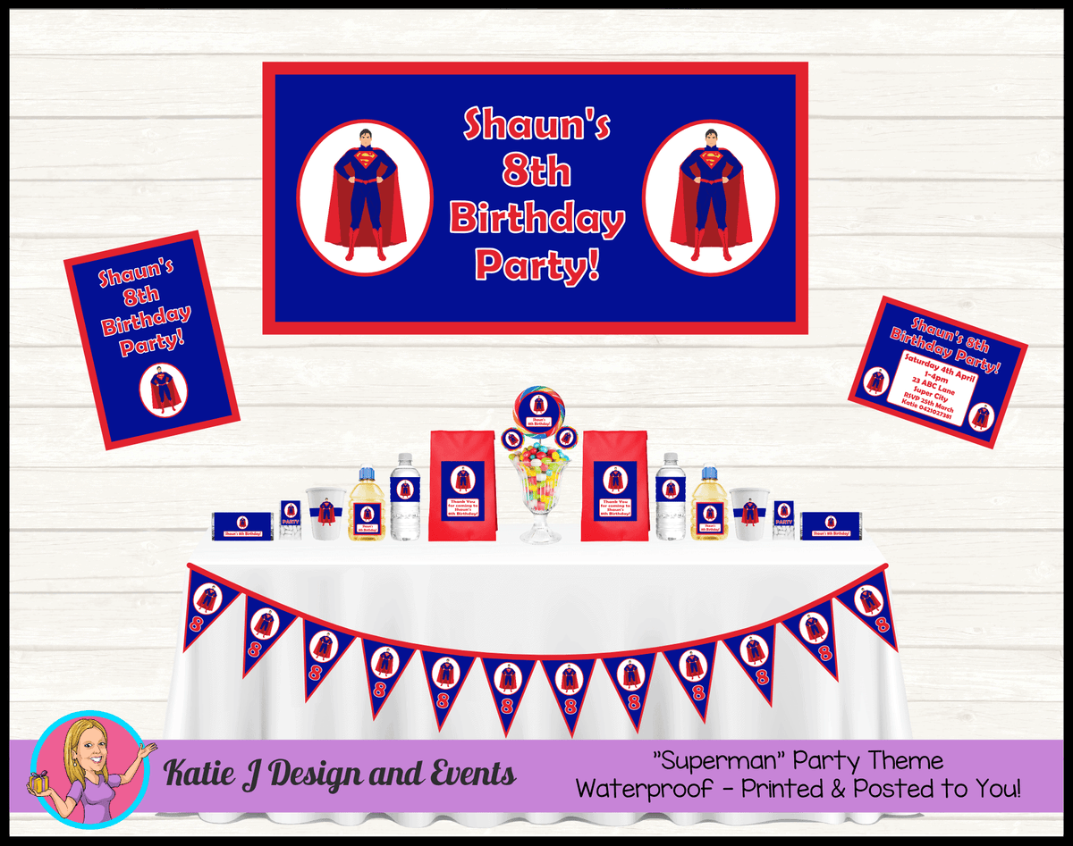 Personalised Superman Party Packs Decorations Supplies