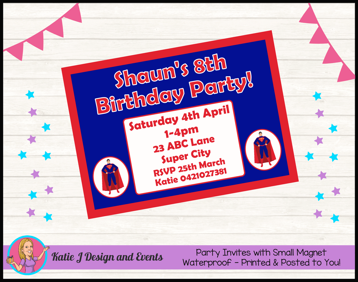 Personalised Superman Birthday Party Invites Invitations