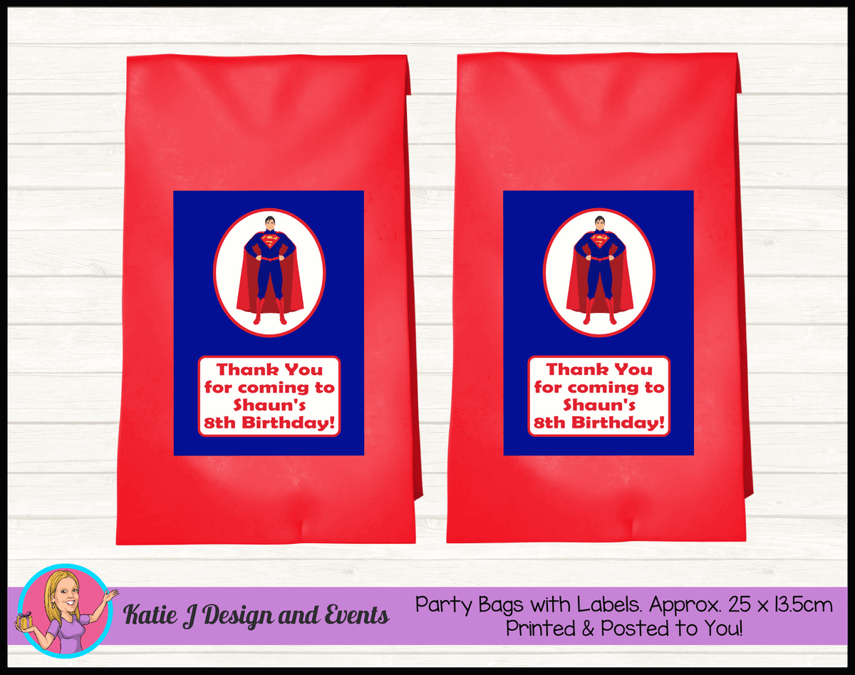 Personalised Superman Birthday Party Loot Bags