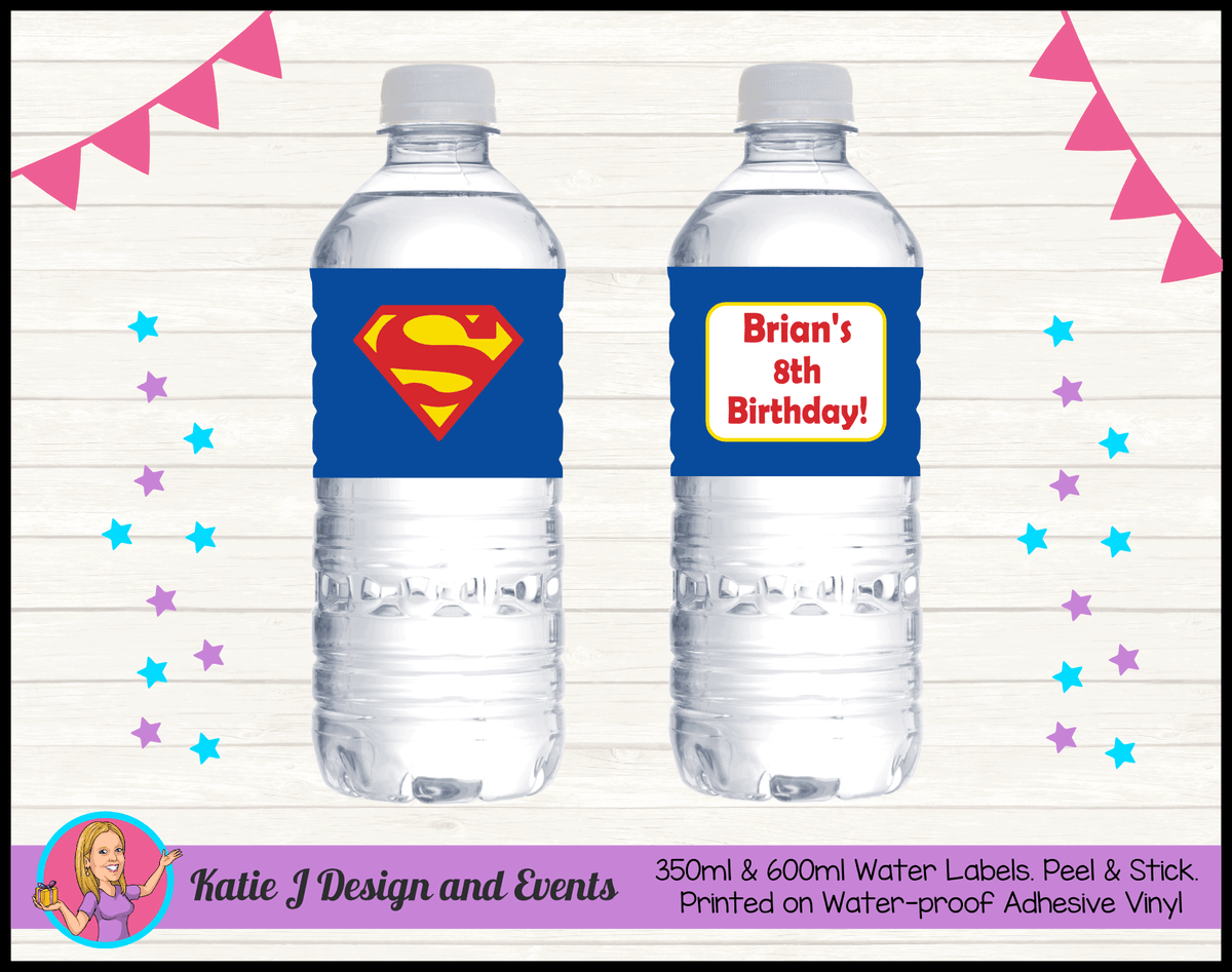 Personalised Superman Logo Birthday Water Labels