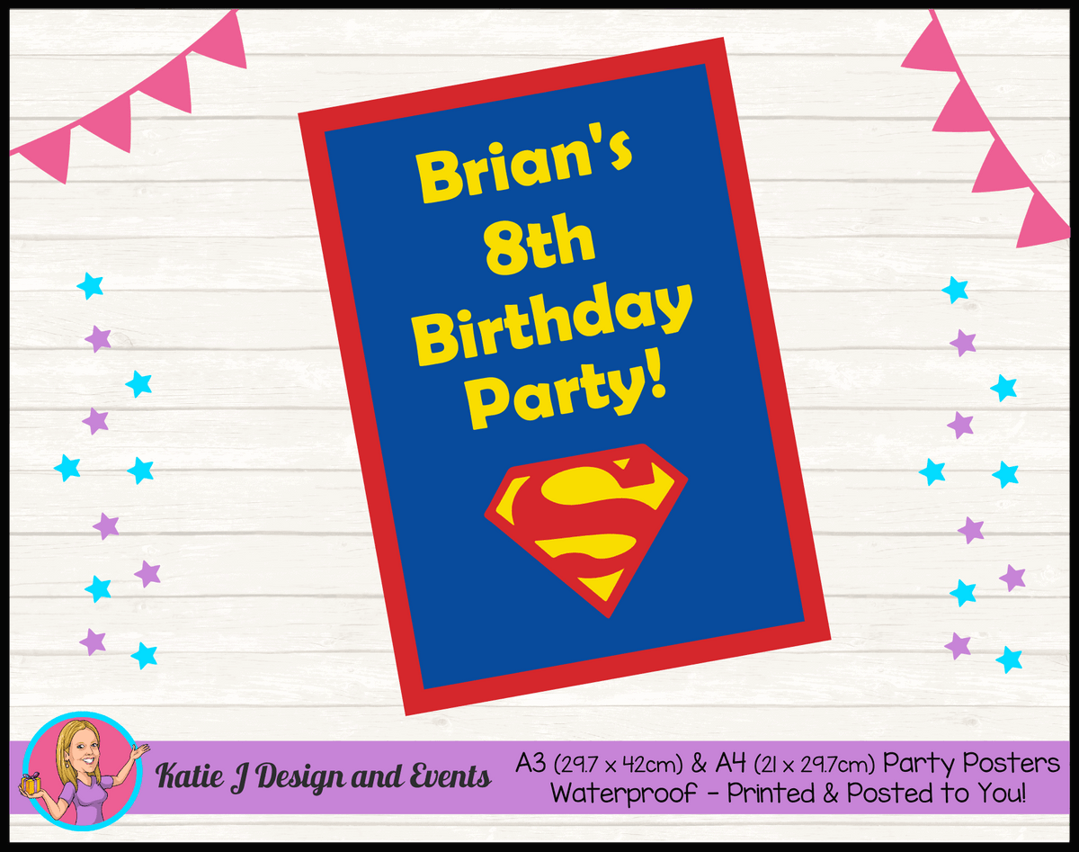 Personalised Superman Logo Birthday Party Poster