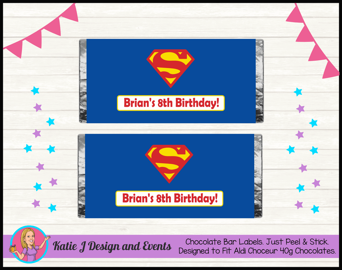 Personalised Superman Logo Birthday Chocolate Labels Wrappers