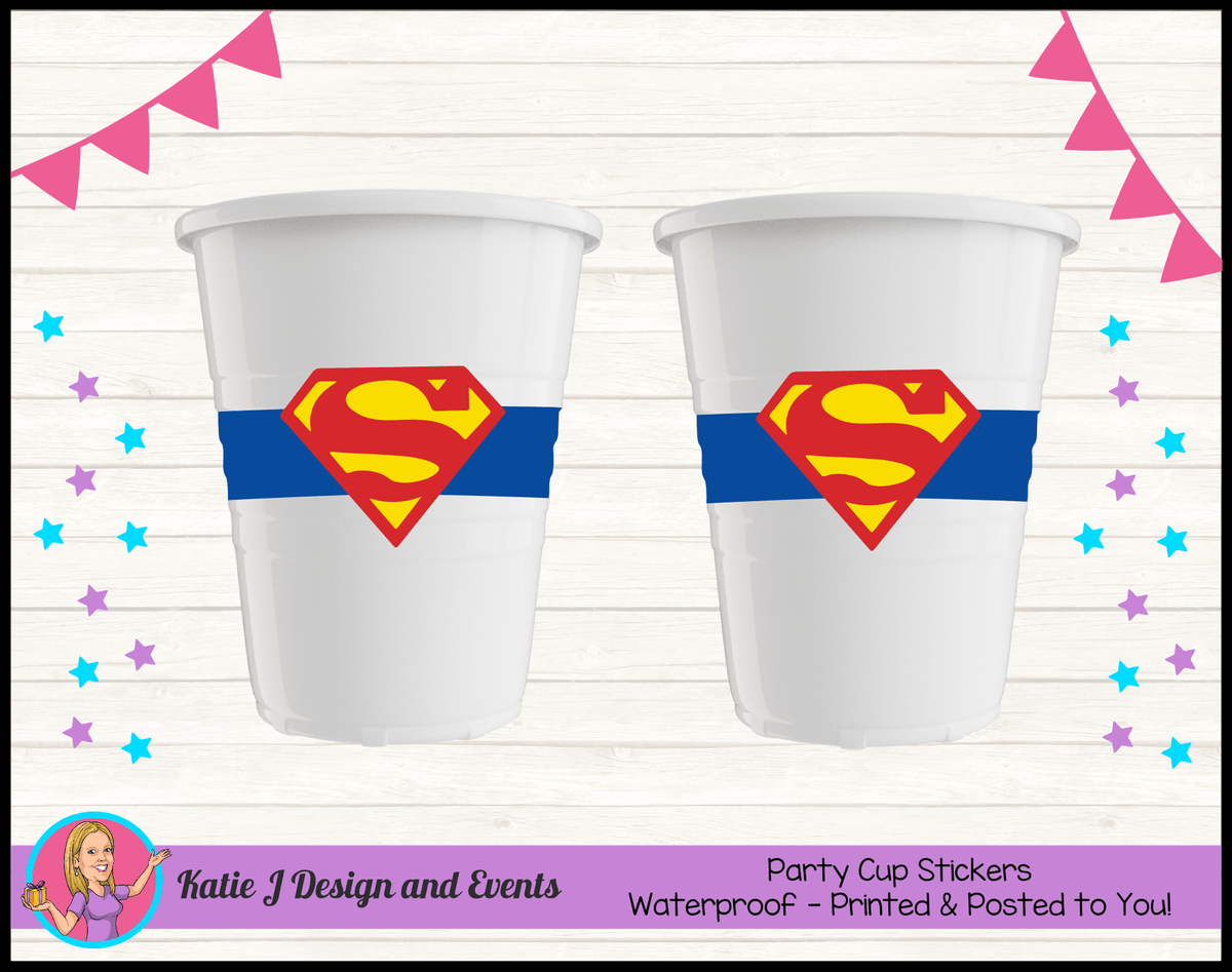 Personalised Superman Logo Party Cup Stickers