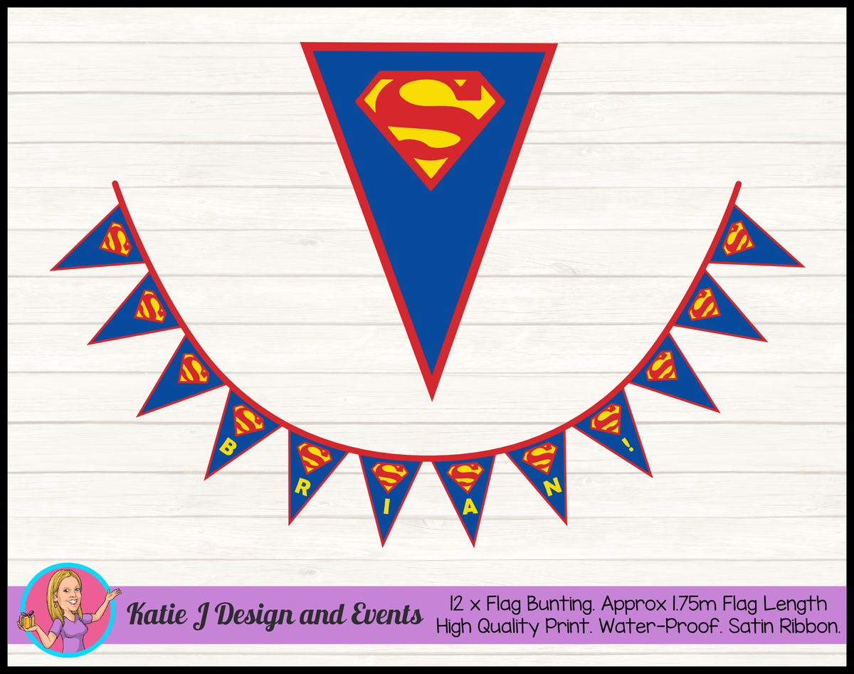 Personalised Superman Logo Birthday Party Decorations