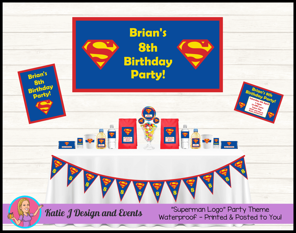 Personalised Superman Logo Party Packs Decorations Supplies