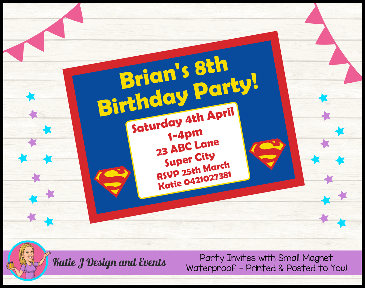 Personalised Superman Logo Birthday Party Invites Invitations