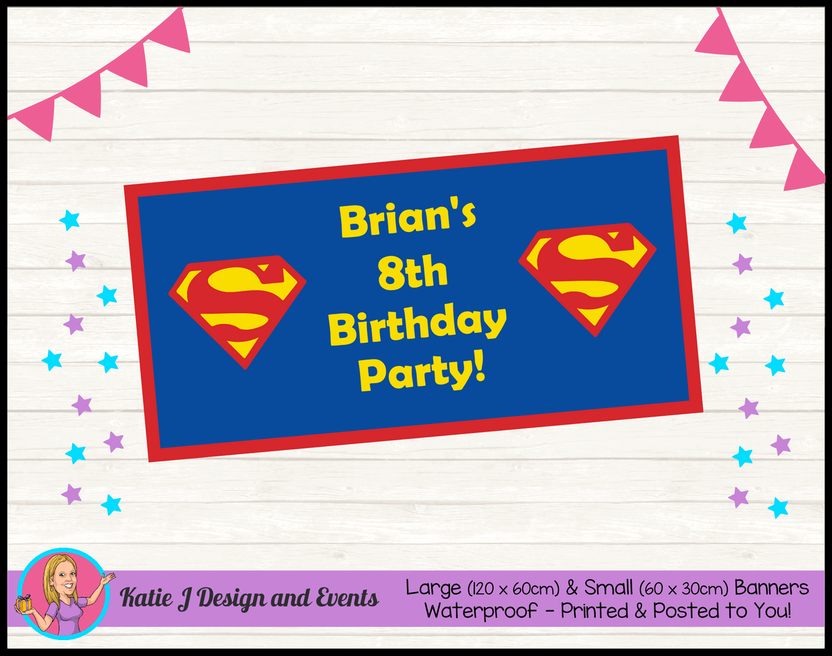 Personalised Superman Logo Birthday Party Banner