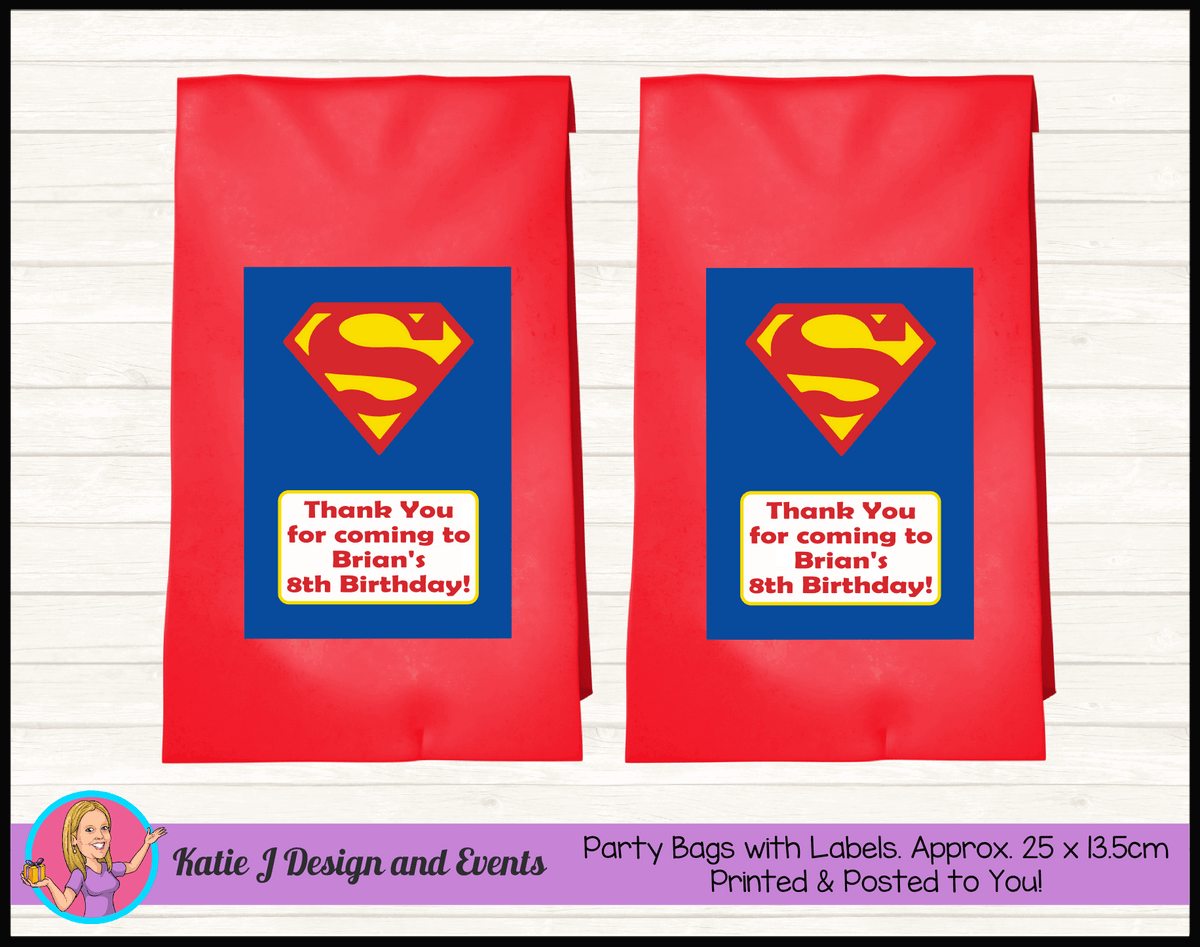 Personalised Superman Logo Birthday Party Loot Bags