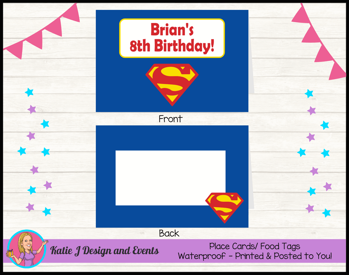 Personalised Superman Logo Party Place Cards