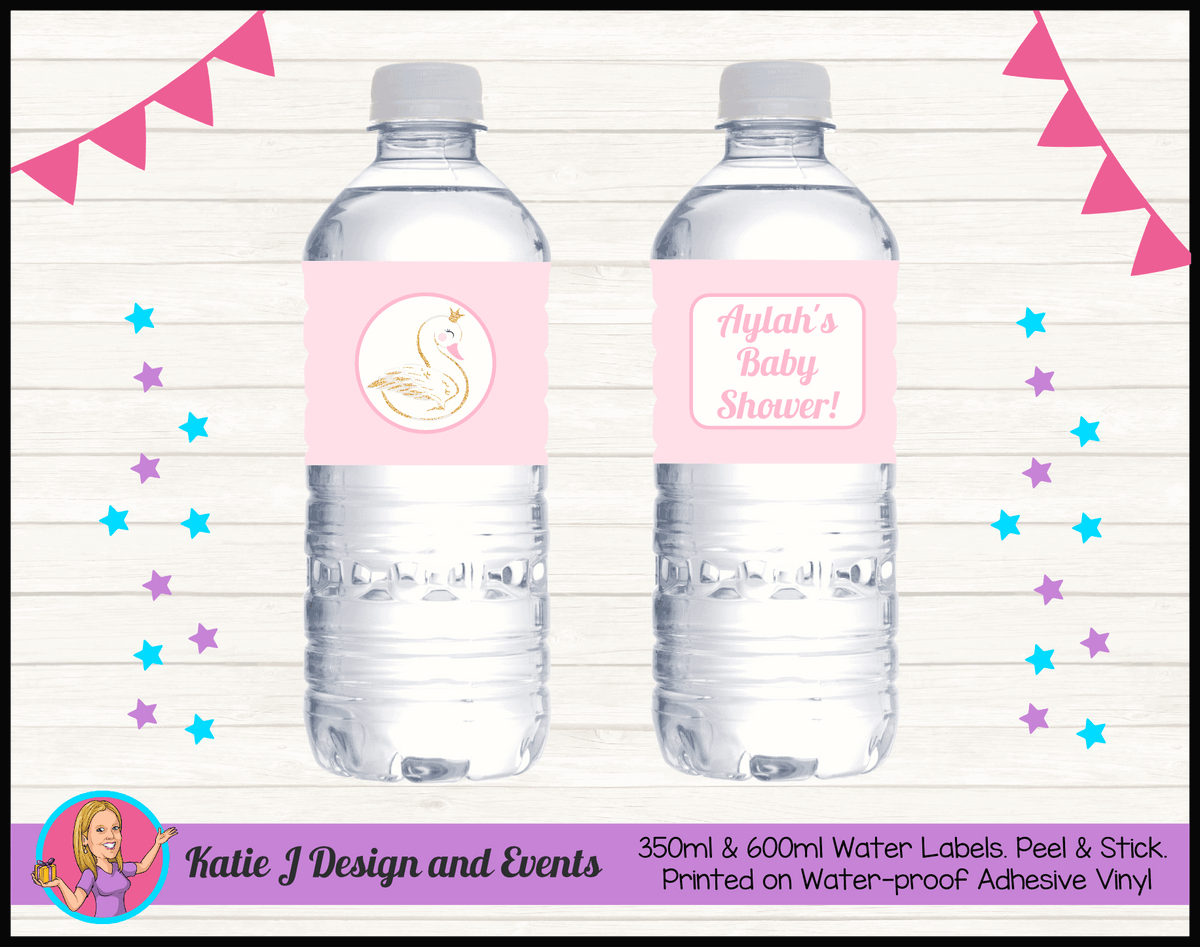 Personalised Swan Baby Shower Water Labels
