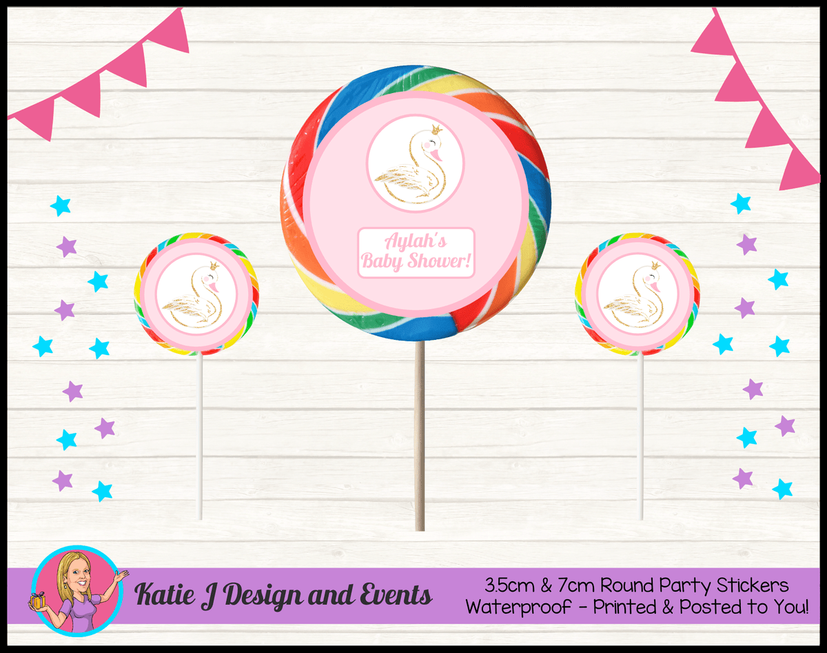 Personalised Swan Baby Shower Round Lollipop Stickers