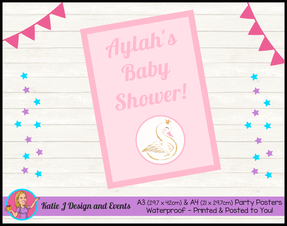 Personalised Swan Baby Shower Poster
