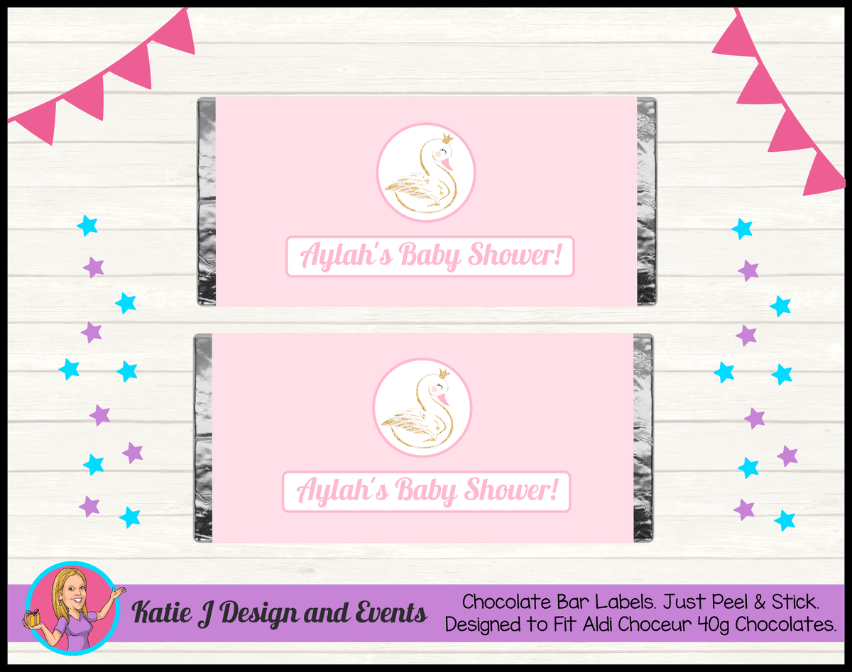 Personalised Swan Baby Shower Chocolate Labels Wrappers