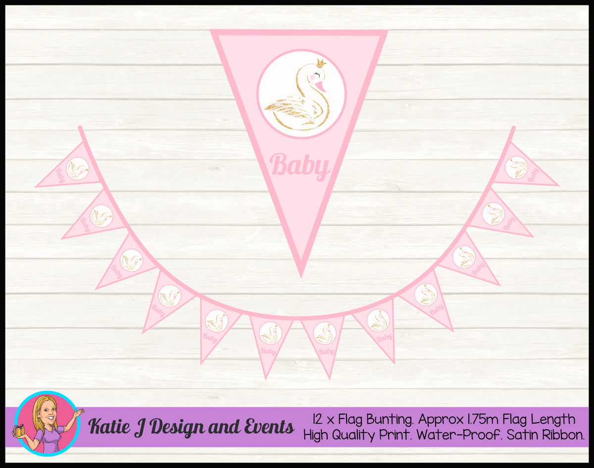 Personalised Swan Baby Shower Flag Bunting