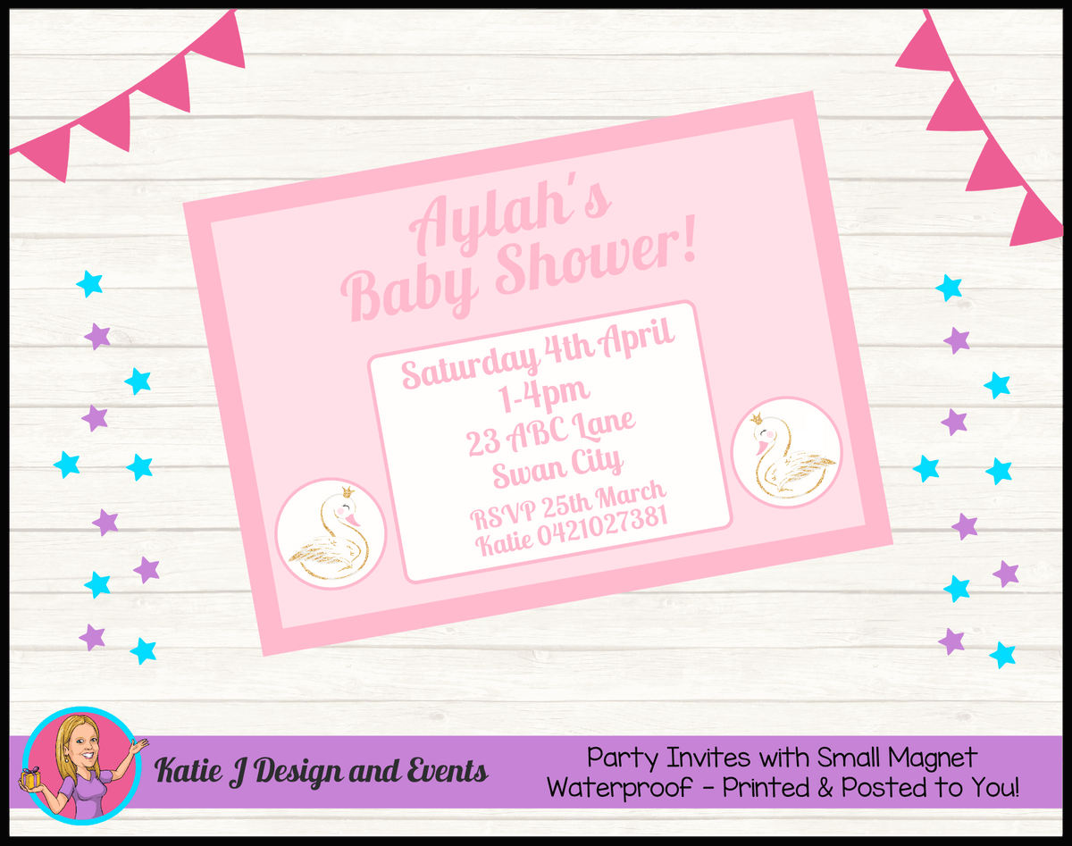 Personalised Swan Baby Shower Invites Invitations