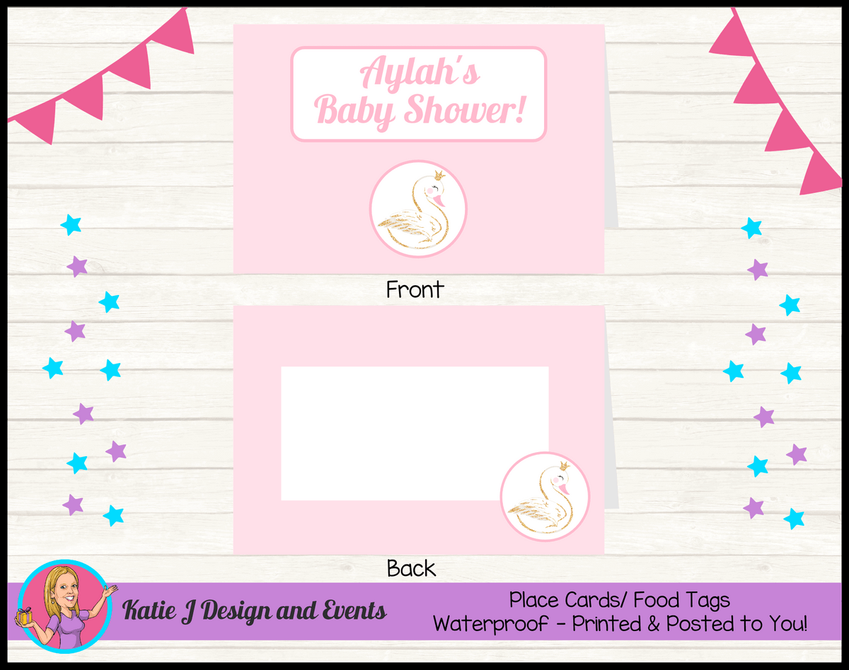 Personalised Swan Baby Shower Place Cards