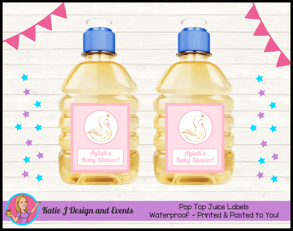 Personalised Swan Baby Shower Pop Top Juice Labels