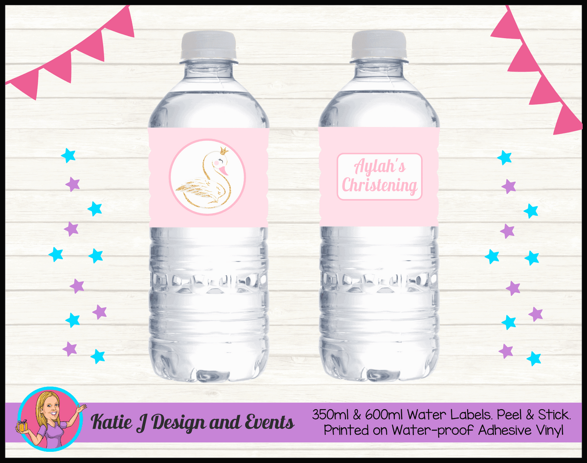 Personalised Pink & Gold Swan Christening Water Labels