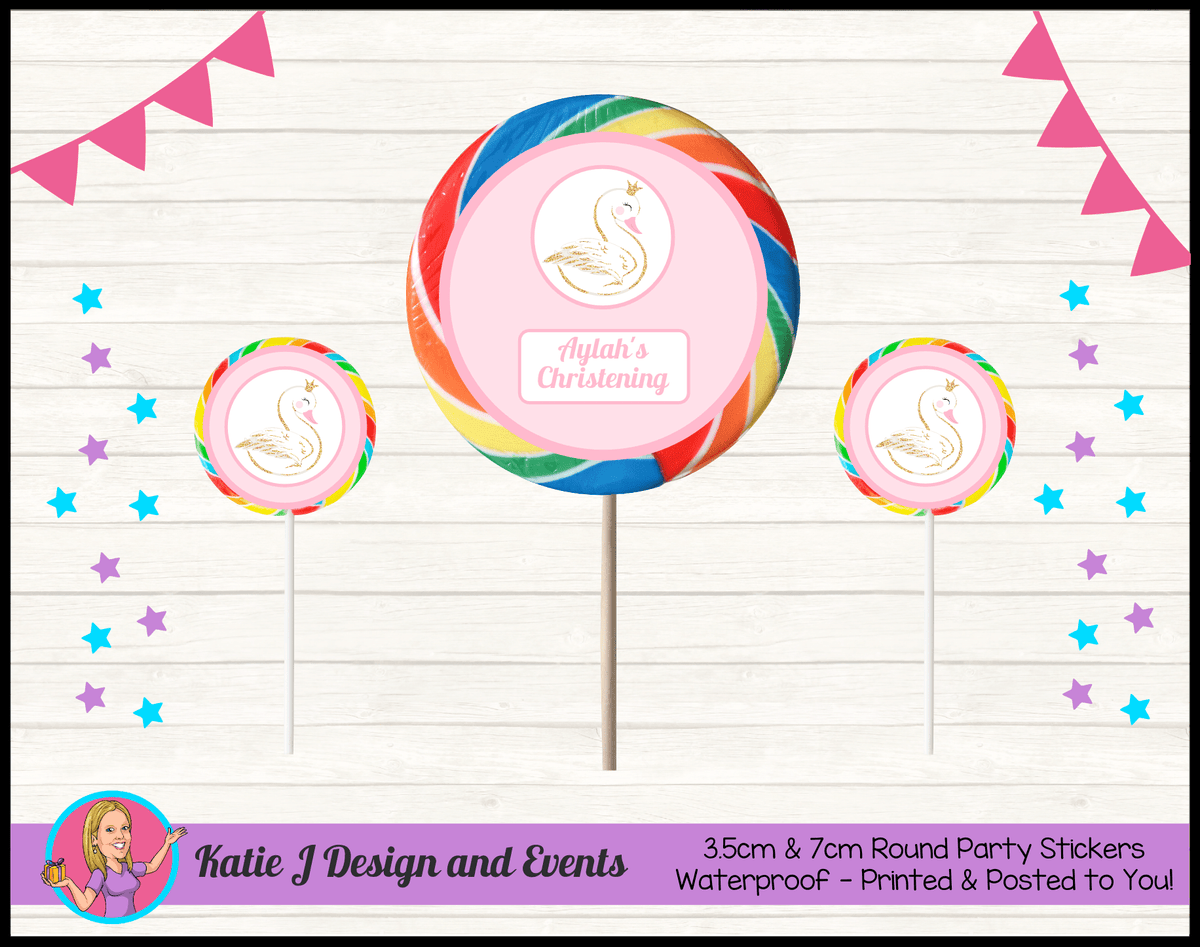 Personalised Pink & Gold Swan Christening Round Lollipop Stickers