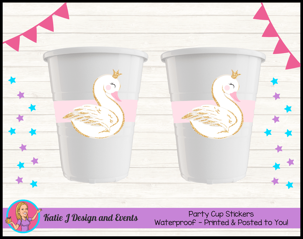Personalised Pink & Gold Swan Christening Cup Stickers Cups