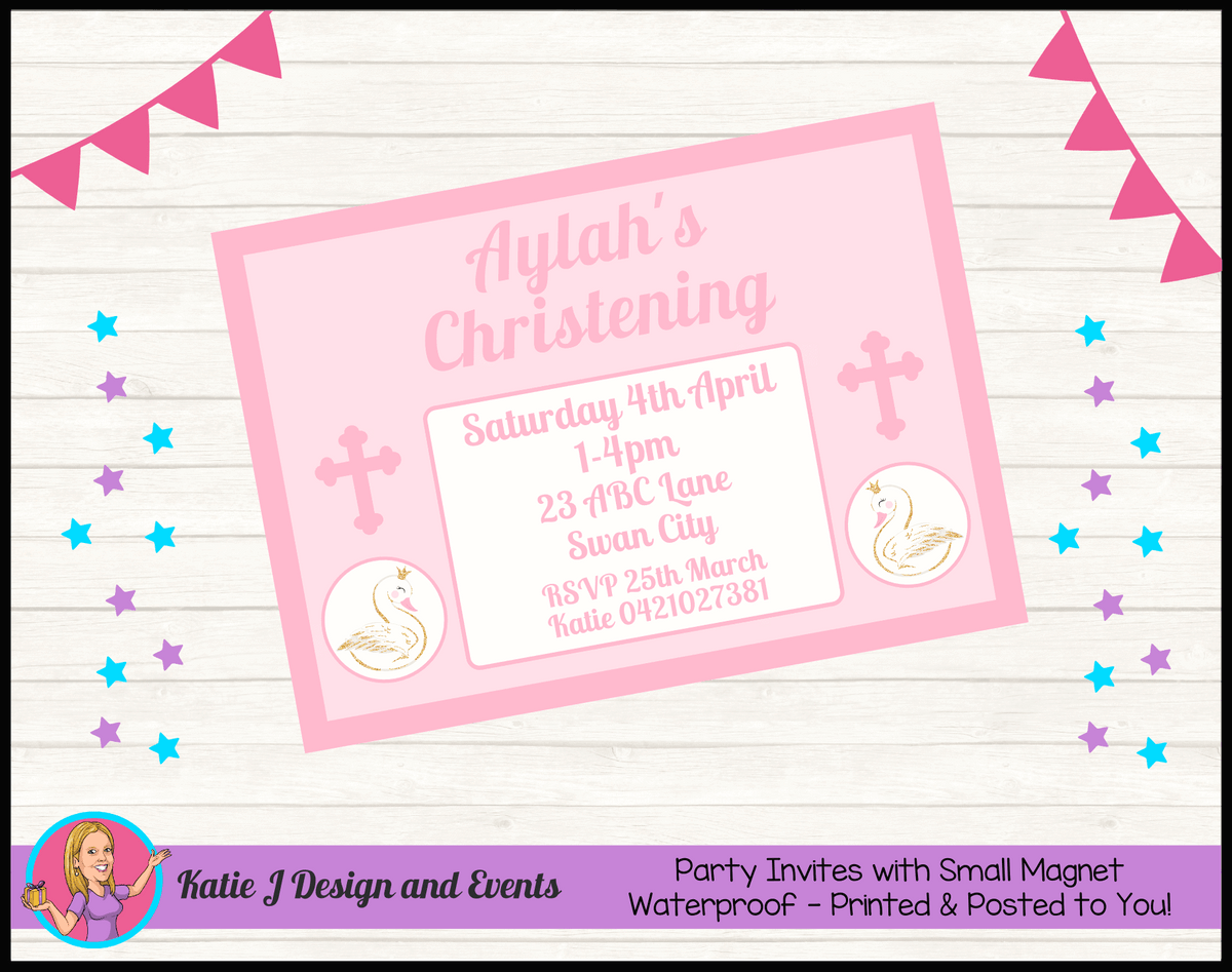 Personalised Pink & Gold Swan Christening Invites