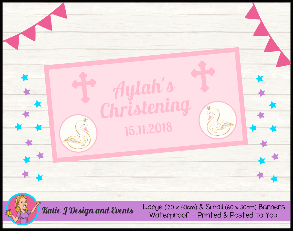 Personalised Pink & Gold Swan Christening Banner