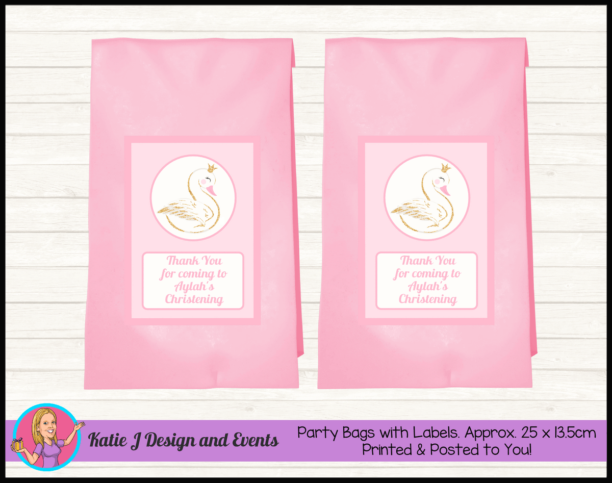 Personalised Pink & Gold Swan Christening Party Loot Bags