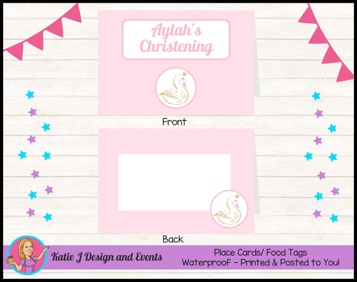 Personalised Pink & Gold Swan Christening Place Cards