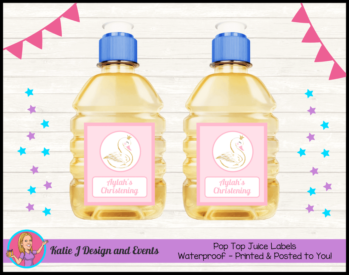 Personalised Pink & Gold Swan Christening Pop Top Juice Labels