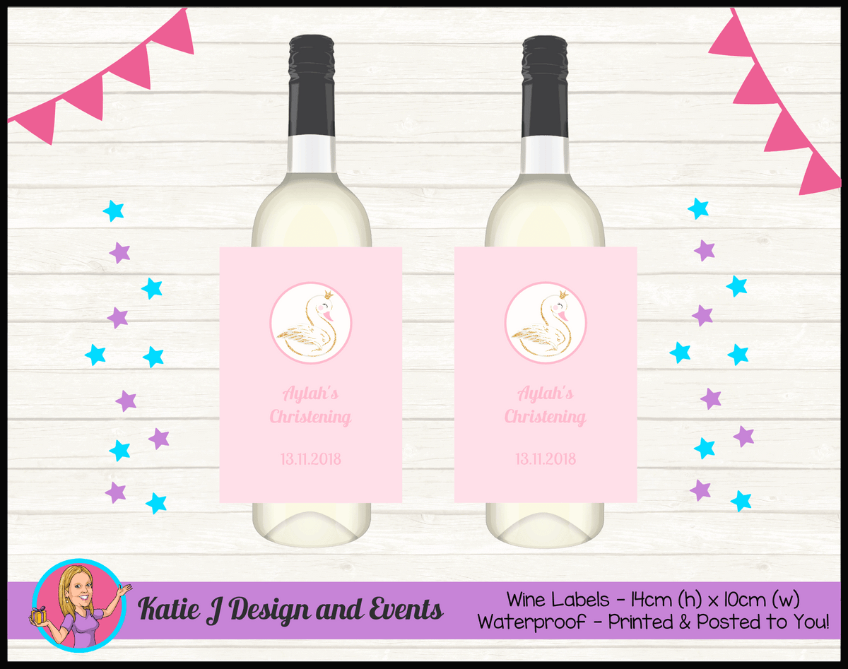 Personalised Pink & Gold Swan Christening Wine Labels
