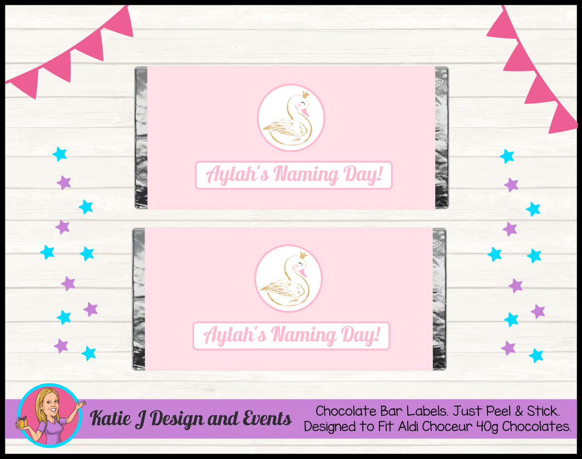 Personalised Swan Naming Day Chocolate Labels Wrappers