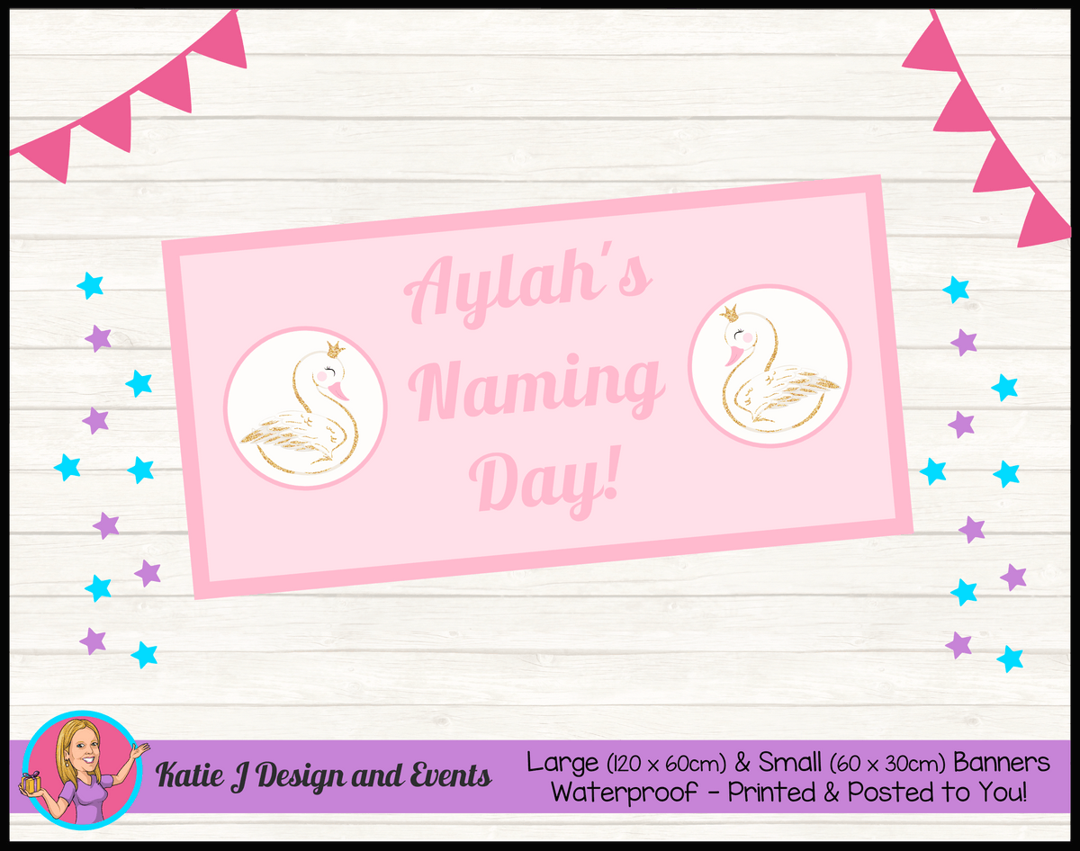 Personalised Swan Naming Day Banner