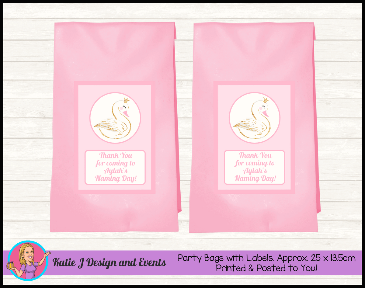 Personalised Swan Naming Day Party Loot Bags