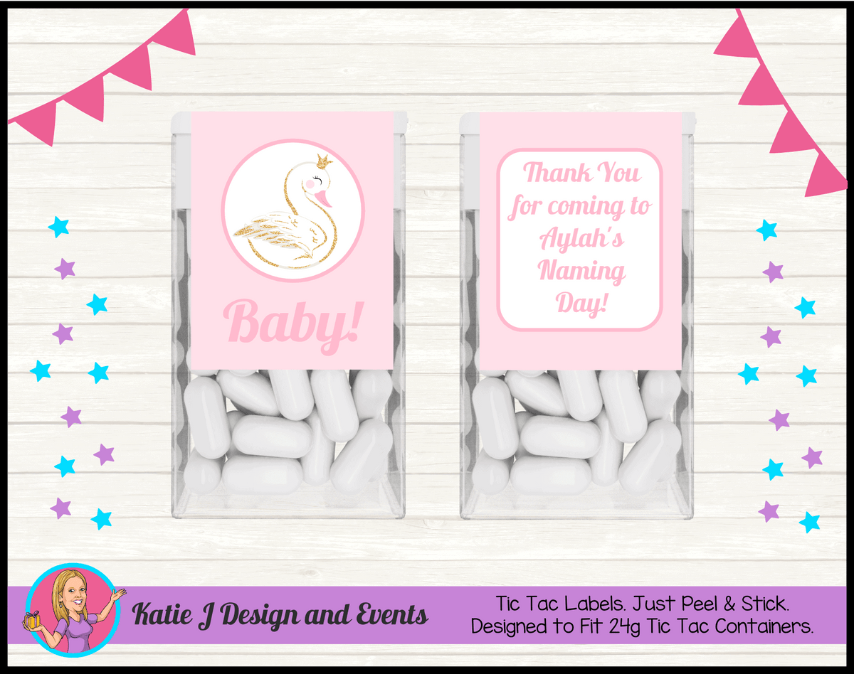 Personalised Swan Naming Day Tic Tac Mint Labels