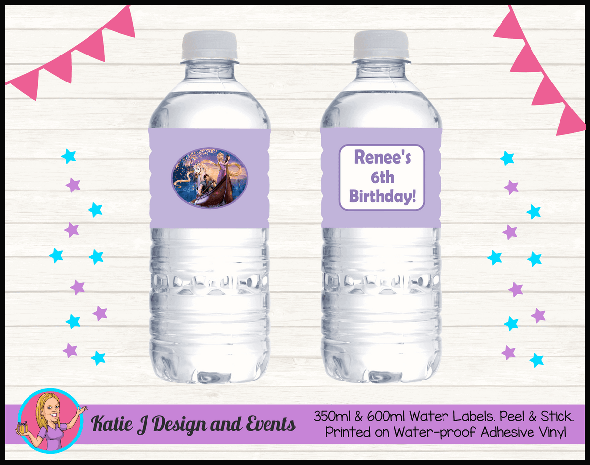 Personalised Tangled Birthday Water Labels