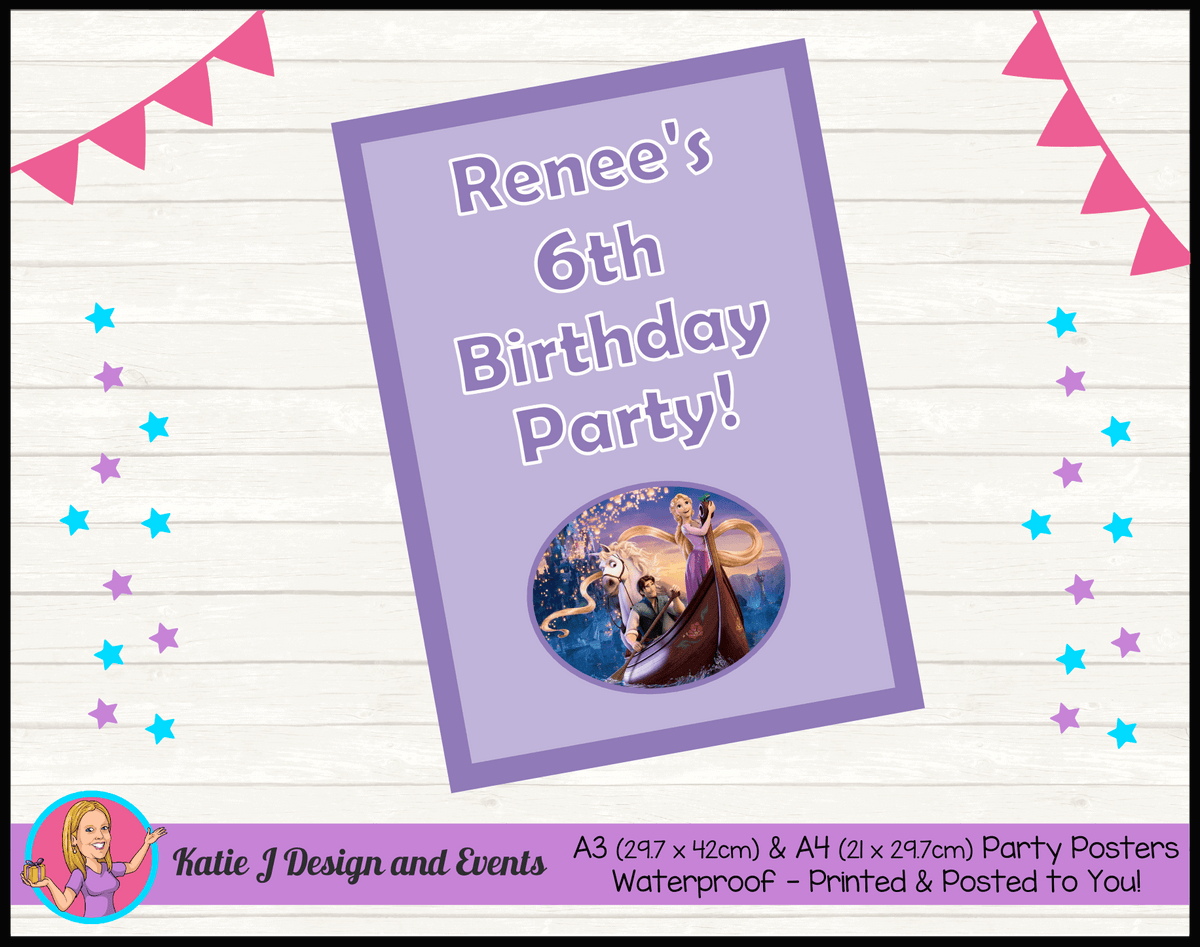 Personalised Tangled Birthday Party Poster