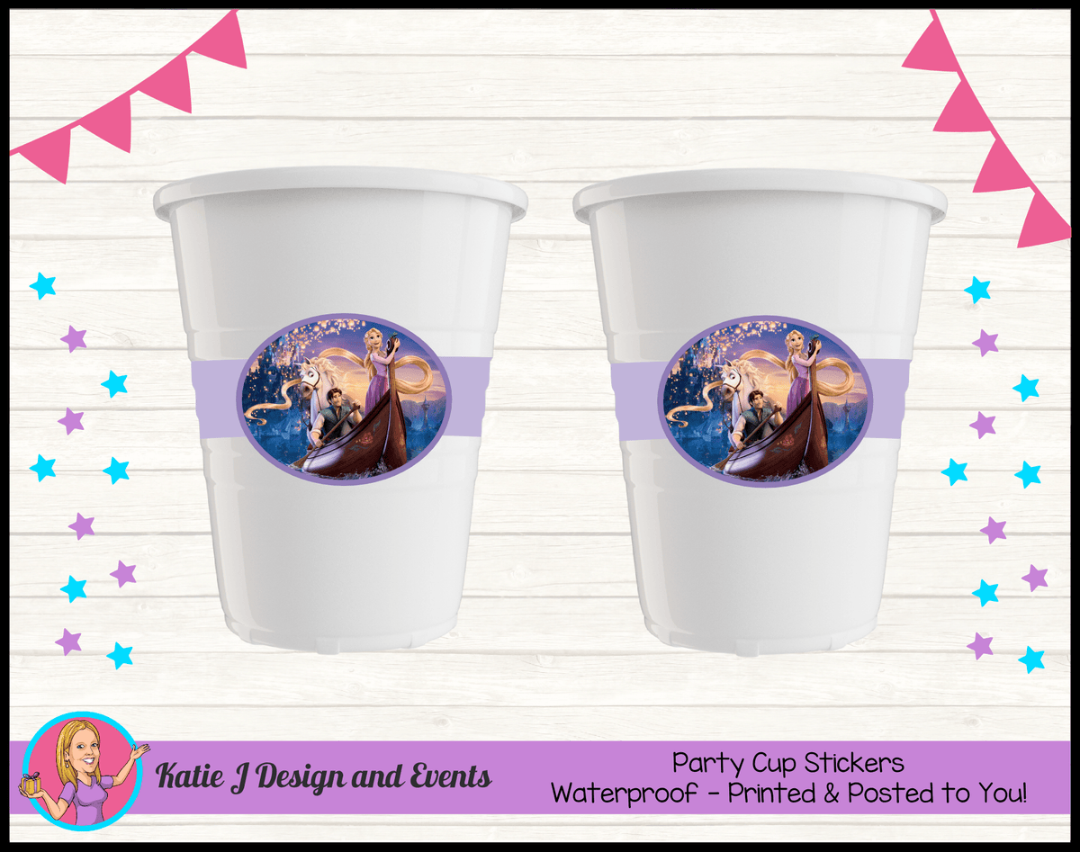 Personalised Tangled Party Cup Stickers Cups