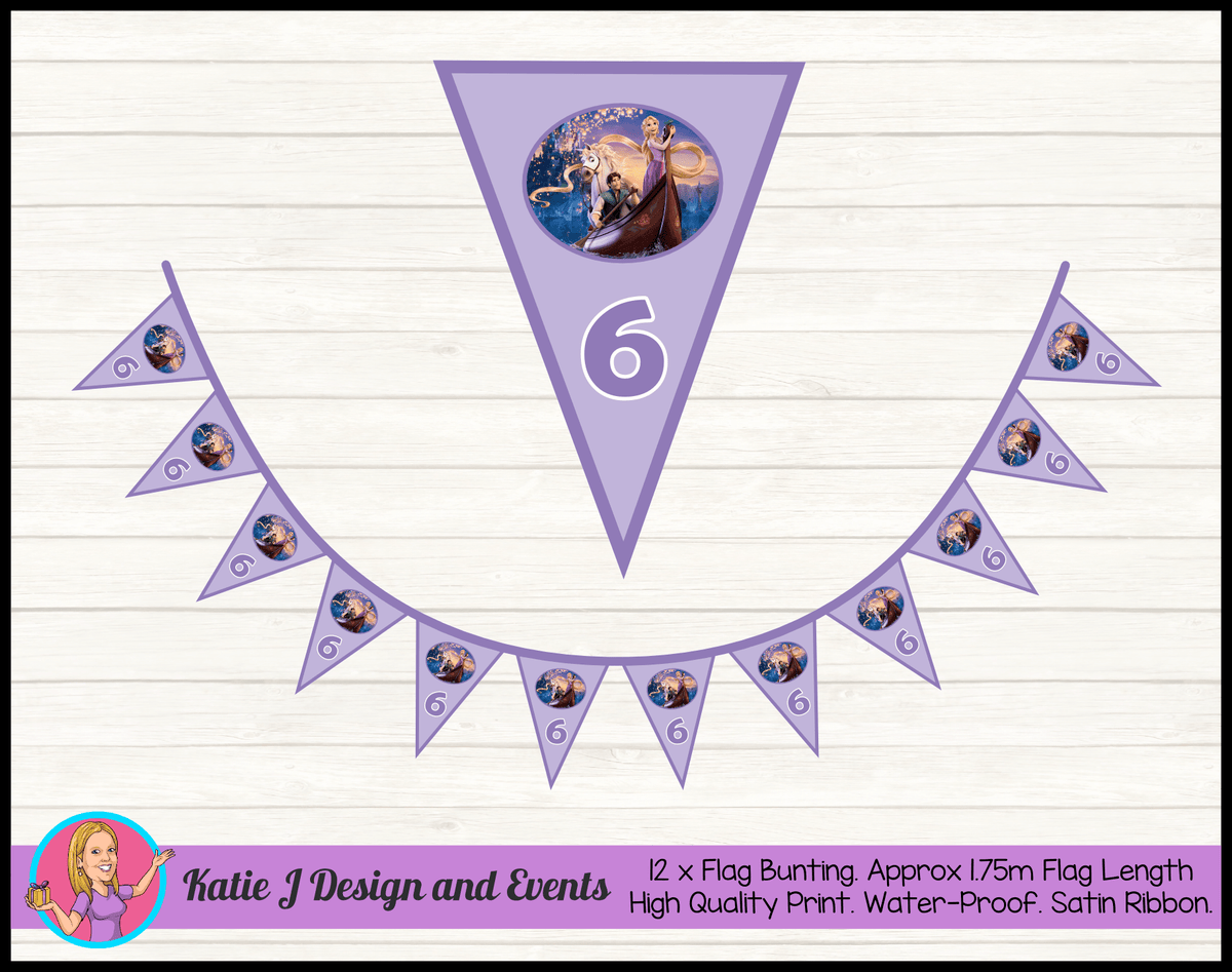 Personalised Tangled Birthday Party Flag Bunting