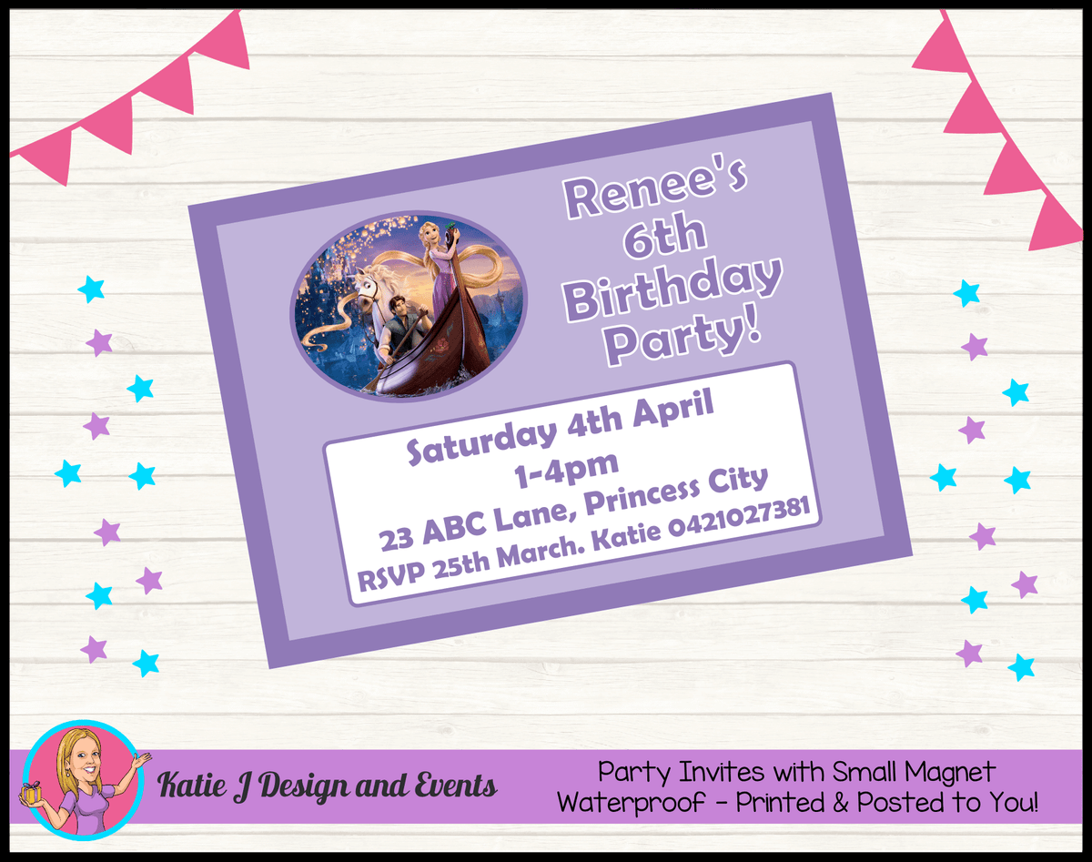 Personalised Tangled Birthday Party Invites Invitations