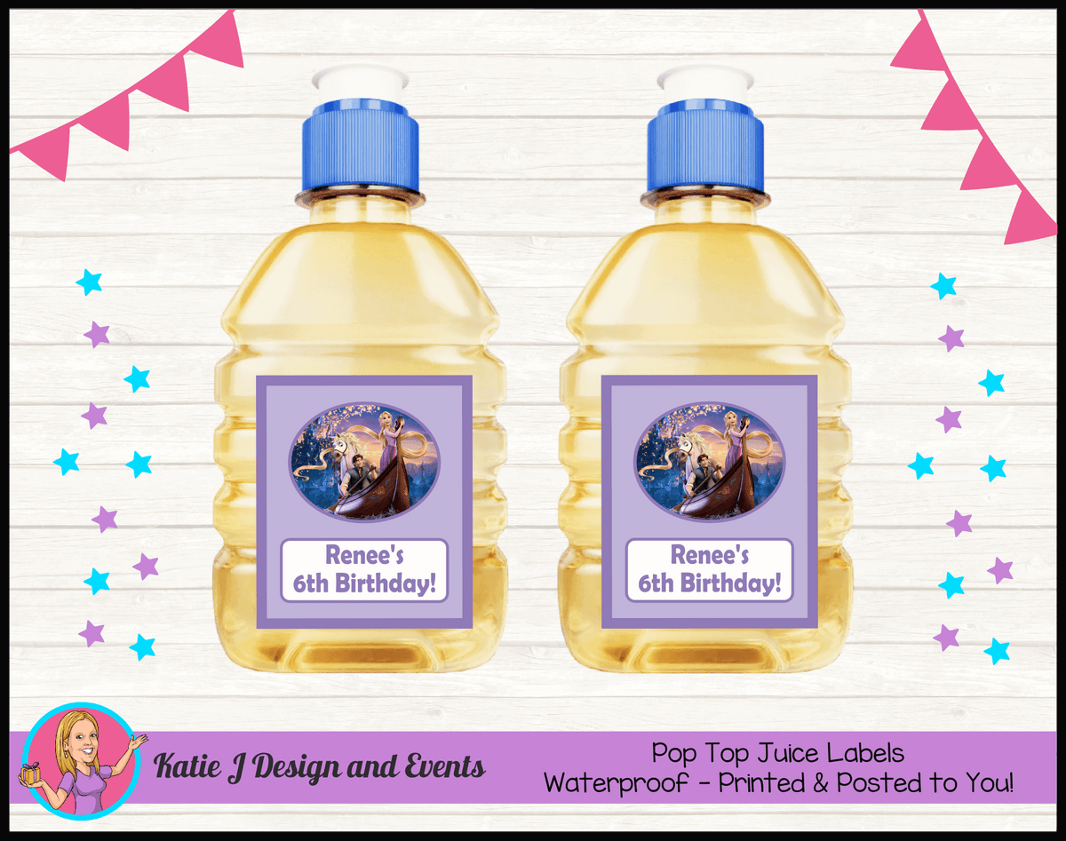 Personalised Tangled Pop Top Juice Labels
