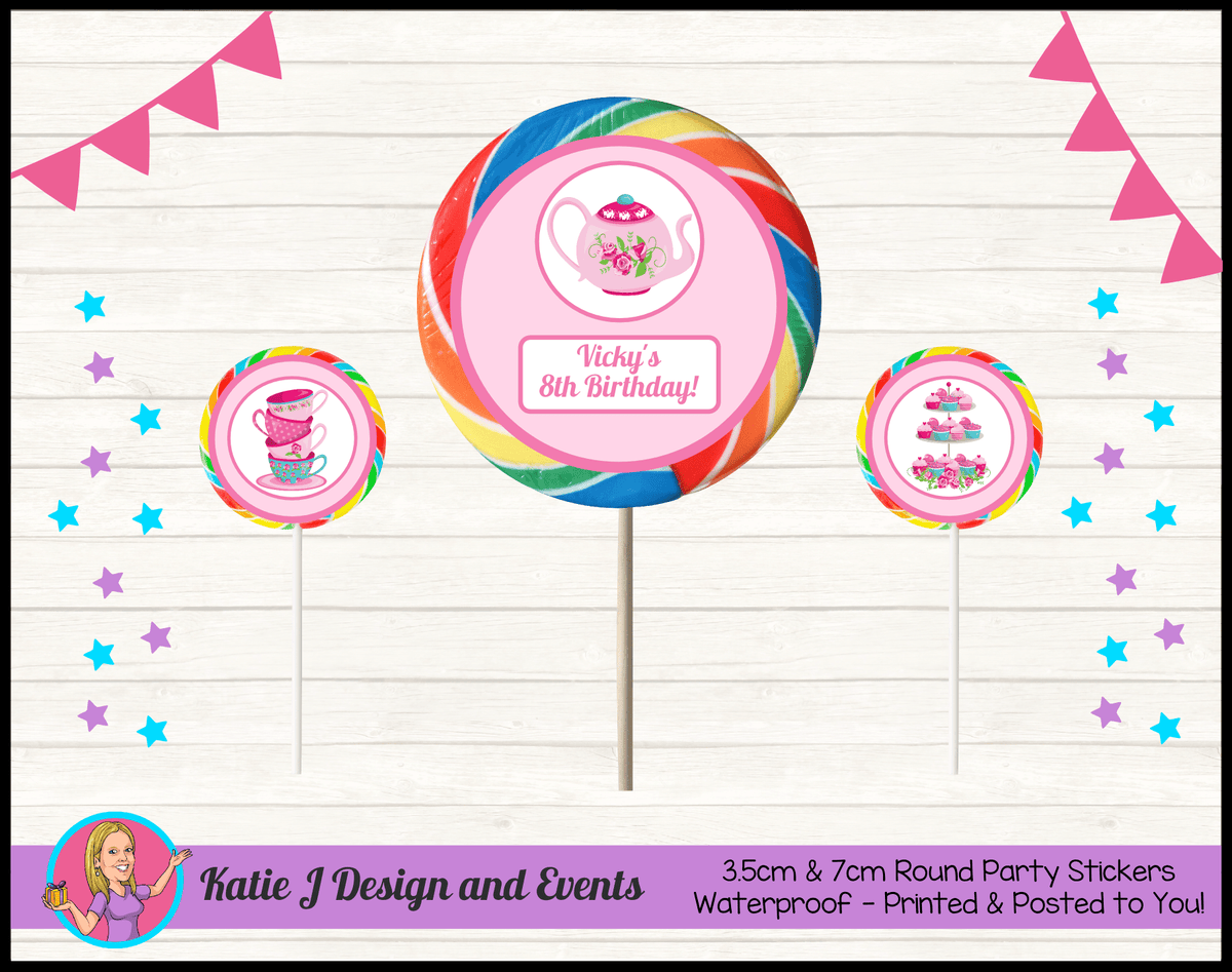 Personalised Tea Party Birthday Round Lollipop Stickers