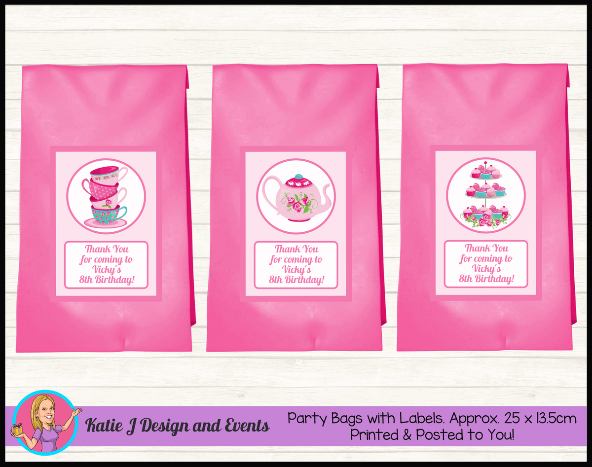 Personalised Tea Party Birthday Loot Bags