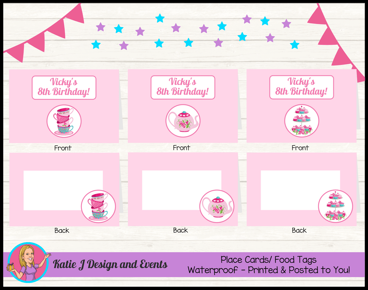 Personalised Tea Party Birthday Place Cards