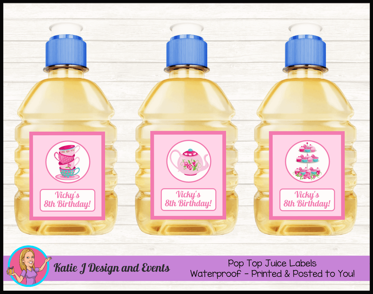 Personalised Tea Party Birthday Pop Top Juice Labels
